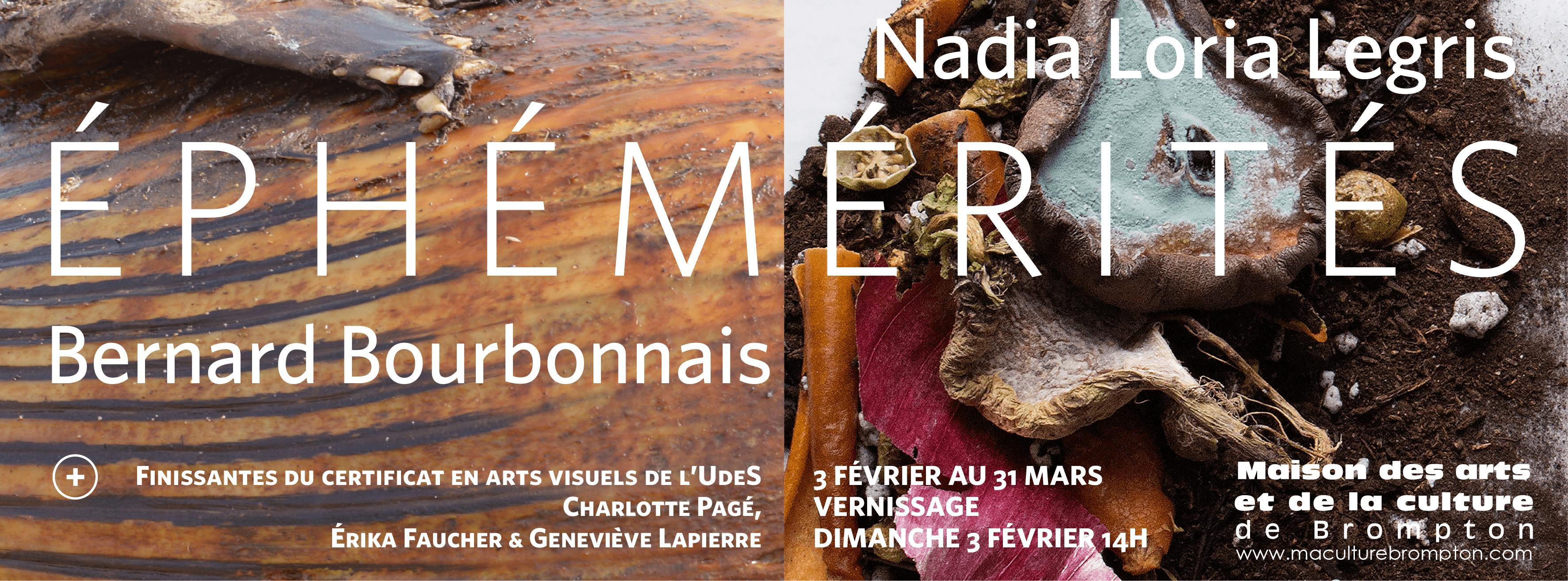 Lexposition éphémérités met en lumière le travail de nadia loria legris et de bernard bourbonnais deux artistes qui se questionnent sur la relation que